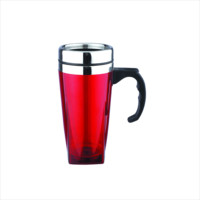 Promo 16oz stainless steel inner and outer plastic coffee mugs with handle and lid