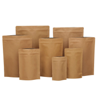 Wholesale Customizable Heat Seal Biodegradable Stand Up Kraft Packaging Bag with Aluminum Foil Lining