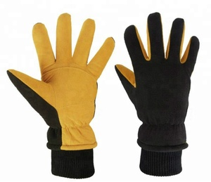 Cold Proof Thermal Deerskin Suede Leather Palm and Polar Fleece Back with Heatlok Insulated Cotton Layer gloves