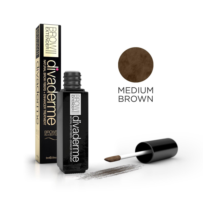 Divaderme Brow Extender II - Black Glass Bottle Edition - 100% Natural Semi Permanent - Eyebrow Fibers + Enhancer Treatment - Made in USA (Medium Brown)