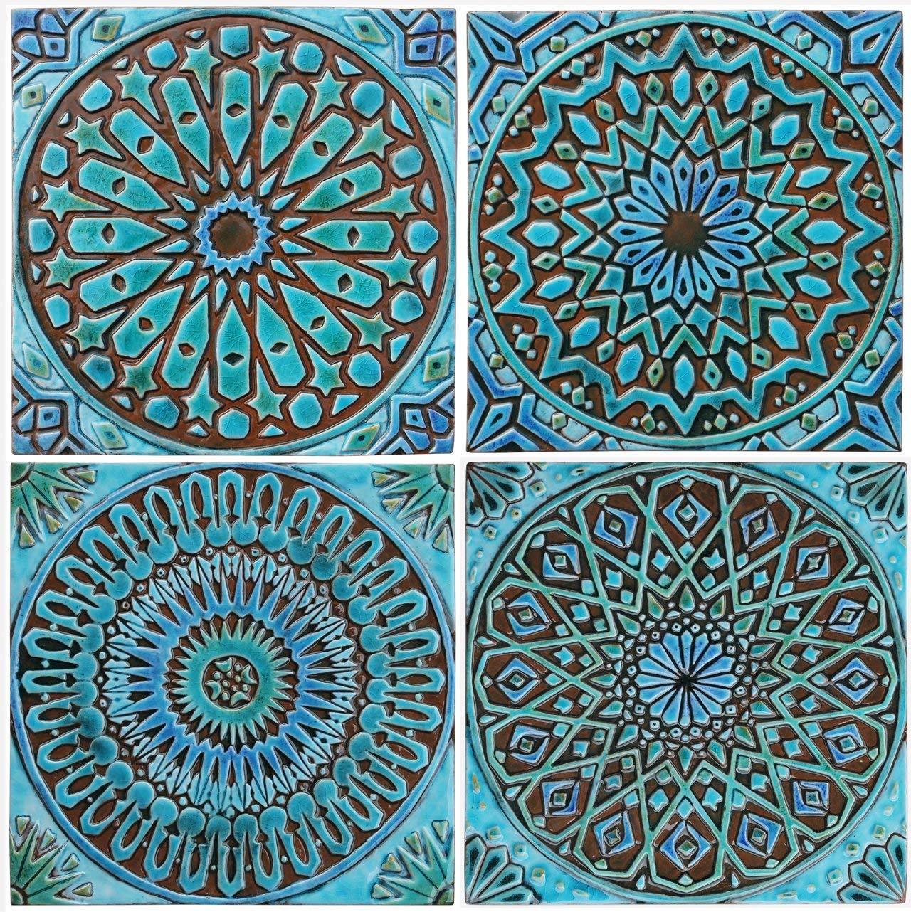 Get Quotations 4 Moroccan Tiles 11 8 30cm Glazed In Turquoise