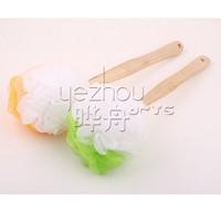 Exfoliating Body Bath Scrub Sponge Bath Sponge With Natural Wooden Handle