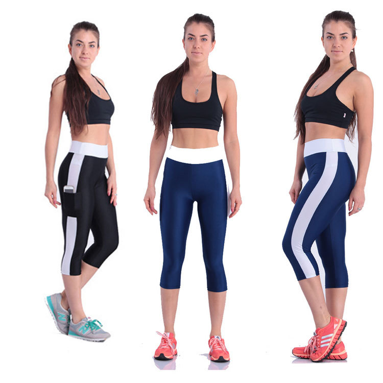Women Cropped Trousers Pants & Capris Calf-length Pant Female Yoga Running Seven Capris Leggings Plus Size S-5XL фото