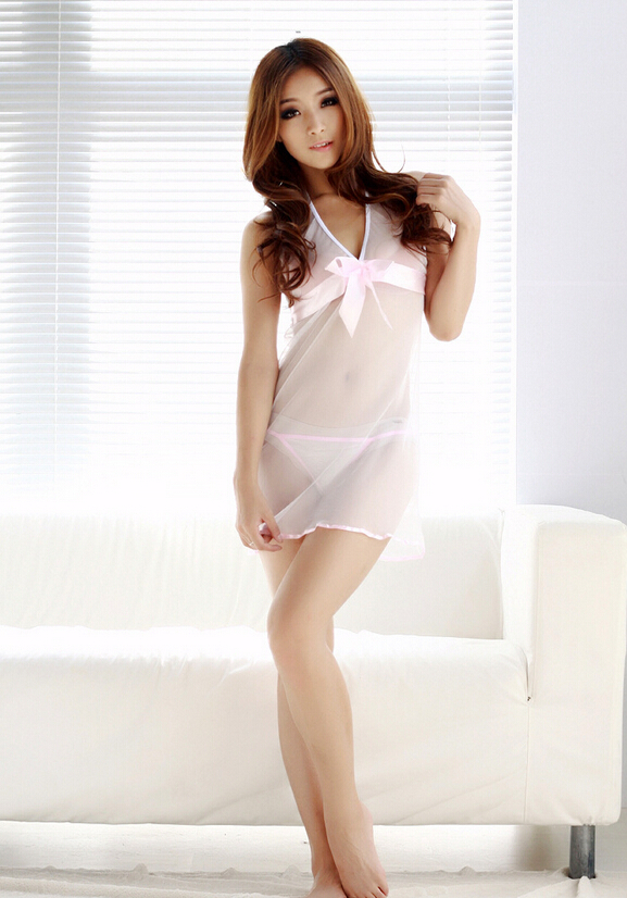 Get Quotations · Sexy Lingerie white bowknet transparent nightwear melish  nightwear dress+g string set sleepwear d061385f2