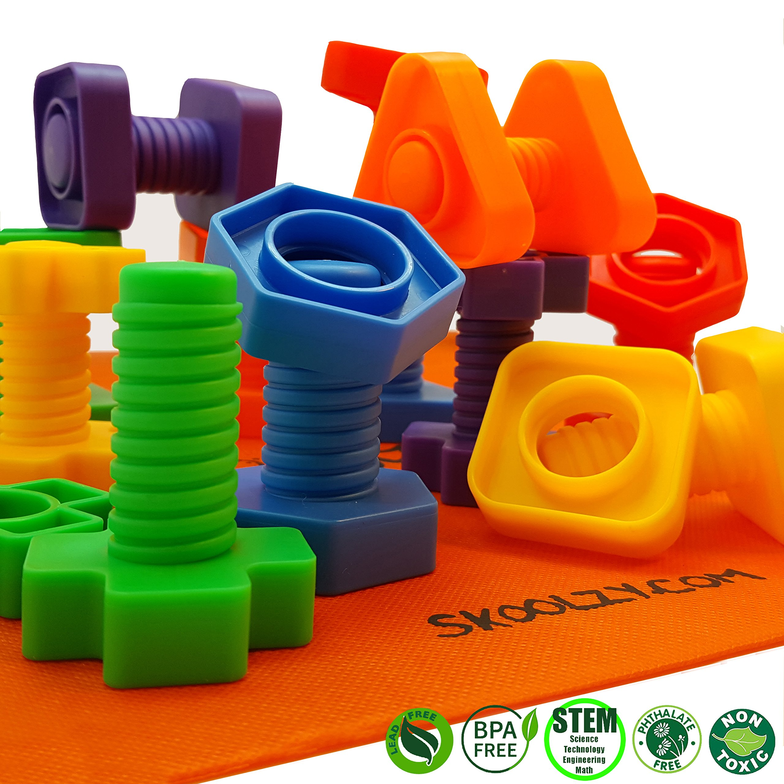 1 Fine Motor Skills Autism Educational Toys for Baby 2 Jumbo Nuts and Bolts Set with Toy Storage and eBook 3 Year Old Boy and Girl Montessori Toddler Rainbow Matching Game Activities 24 pc