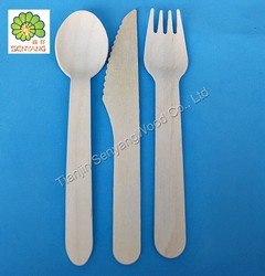 Bulk birch wood disposable cutlery in China