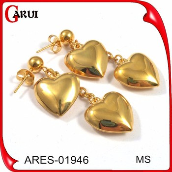 Simple Gold Earring Designs For Women Heart Shaped Drop Fashion Whole Earrings