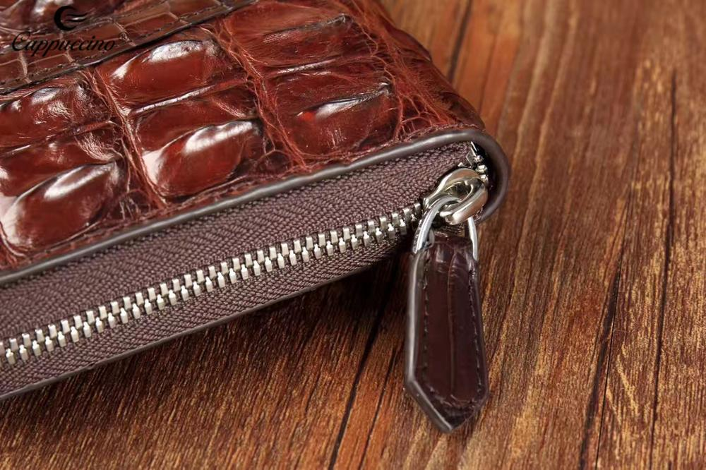 Cappuccino Fashion popular Luxury Crocodile Skin Leather with high quality wallet