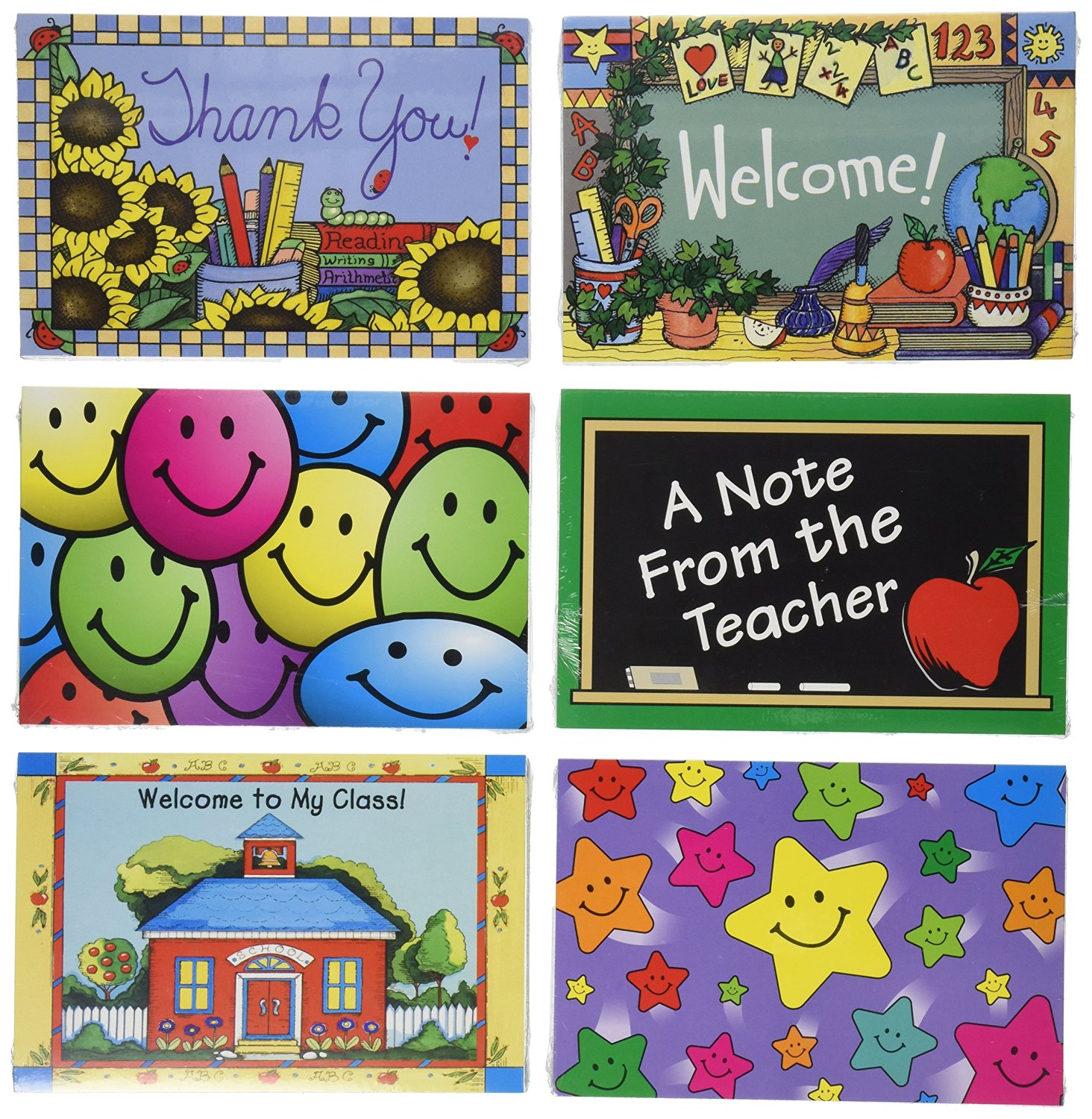 266f1996a3 School Smart 68248 School Year Postcards - Pack of 180 - Assorted Designs