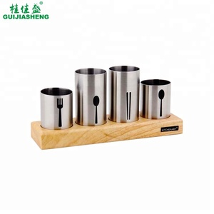 Stainless steel storage tableware chopstick/fork/knife/spoon holder with wooden base