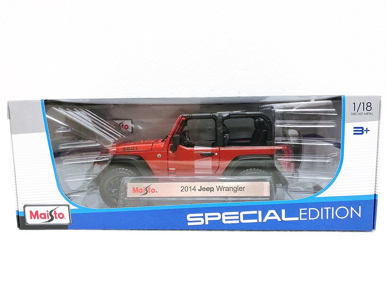 Maisto Orange 2014 Jeep Wrangler - 1:18 Diecast Model Car Black Special Edition
