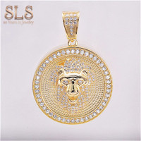 2019 Custom Made Sterling Silver Charms Wholesale Gold Zodiac Lion Head Round Diamond Pendants