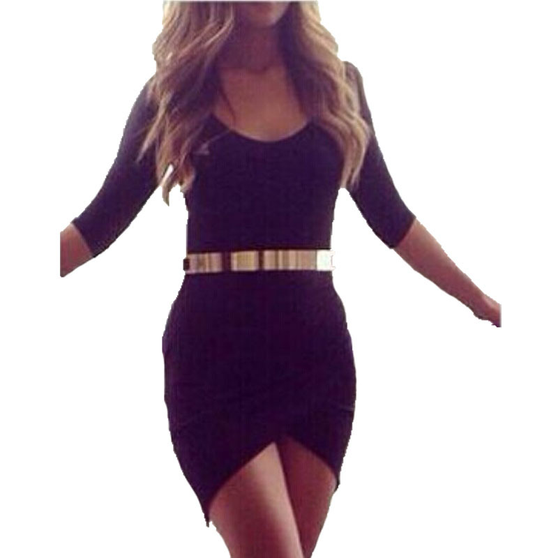 Get Quotations · Sheath Sexy Black Women Summer Mini Dress O-Neck Solid  Half Sleeve Before the opening 7e1149de2
