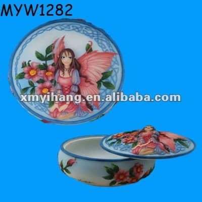 2012 new fancy earring fairy themed jewelry and trinket can and holder for women porcelain handcrafted jewelry boxes