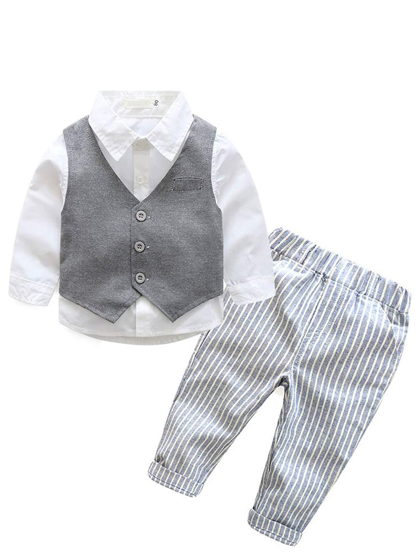 6c03baa3748e0 Get Quotations · Abolai Infant Baby Kid Boy 3 Piece Vest Set Formal Wear  Shirt, Vest and Pants