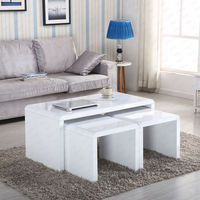 CT-3144 three in one nest white high gloss coffee table