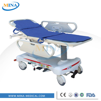 MINA-ST005 High quality emergency surgery stretcher gurneys with one guide wheel