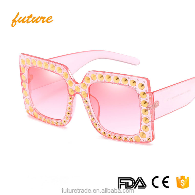 New Luxury Ladies Oculos Sun Glasses Square Fashion UV400 Women Oversized Rivet Sunglasses J66280
