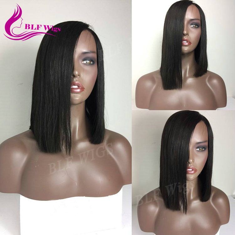 Overnight Delivery Straight Brazilian Human Hair Short Bob Lace Front Wig