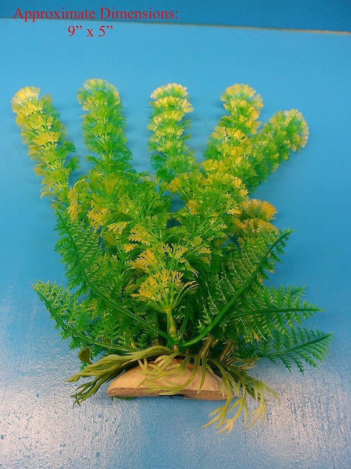 "Azaina_atl AQUARIUM DECORATION - PLASTIC PLANT W HEAVY BASE 922174 9"" H x 5"""
