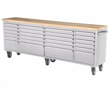 "96"" 24 drawers industrial work bench stainless steel tool box cabinet"