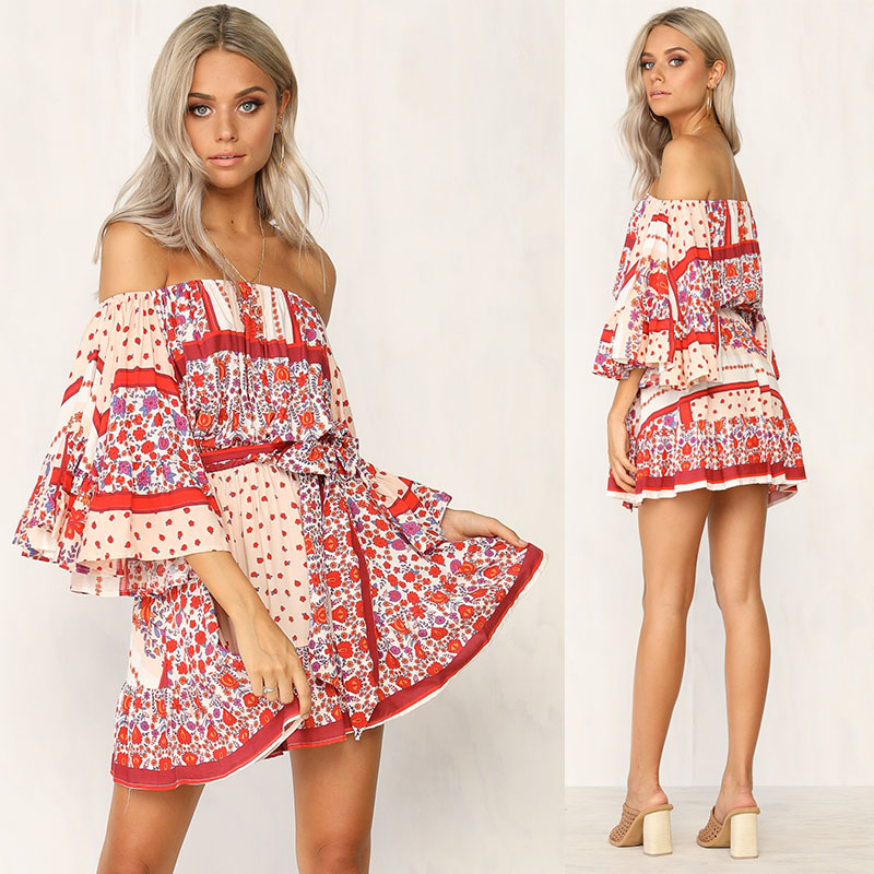 Summer <strong>Dresses</strong> Women Boho Printed Off Shoulder Mini <strong>Dress</strong>