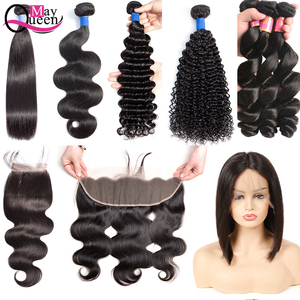 Wholesale 10A Mink virgin cuticle aligned brazilian Human hair bundles with lace closure&frontal best Hair Vendors