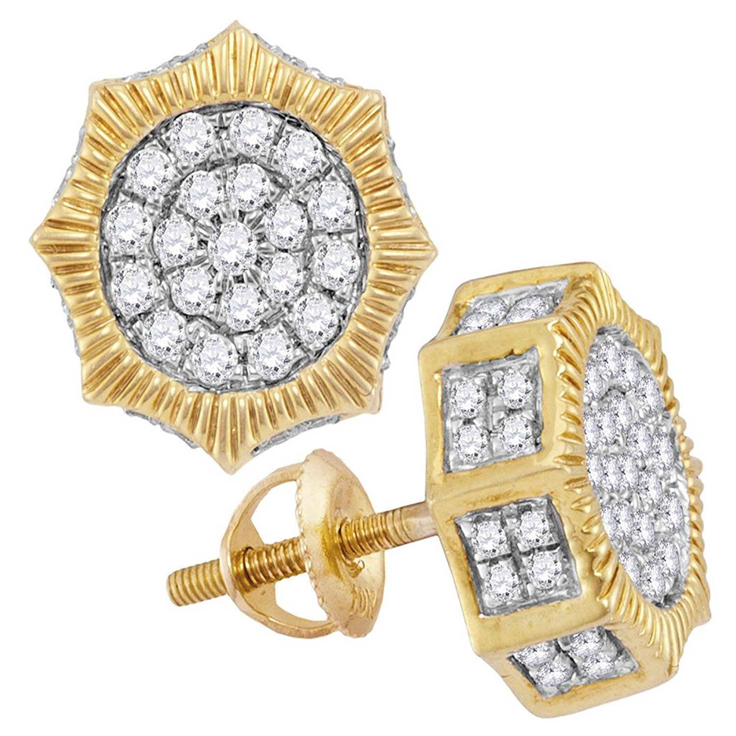 10KT Yellow Gold Mens Round Diamond Kite Square Cluster Stud Earrings 0.09 Cttw