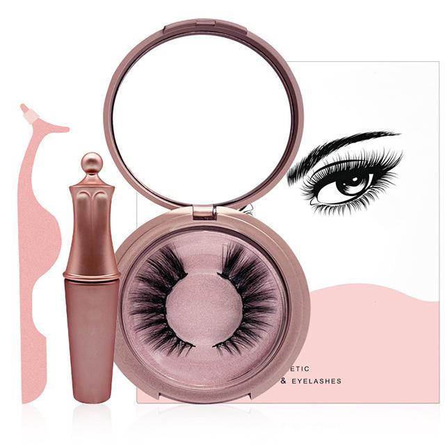 Hot selling waterproof liquid magnetic eyeliner and 5 magnets eyelash and tweezer kit package фото