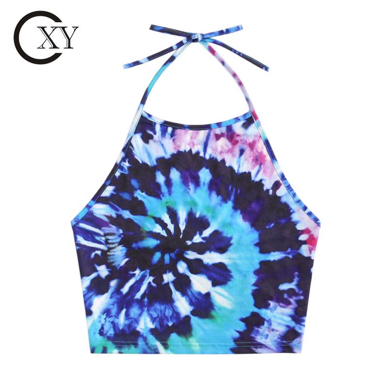 Custom Ladies Tie Dye Sublimated Crop Halter Top