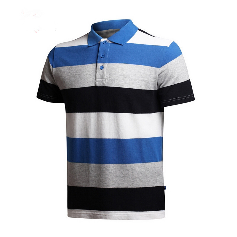 Wholesale Summer Men Sports 100% Cotton Striped Polo Shirts Clothing High Quality Uniform Polo T Shirts