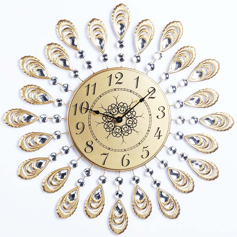 Decoration fashion gold peacock wall art clock