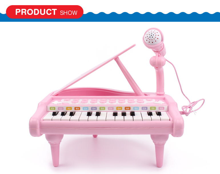 Popular educational electric piano kids toys musical instruments keyboard with microphone