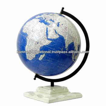 Educational World Globe With Metal Arc Wooden Stand Rotating Unique