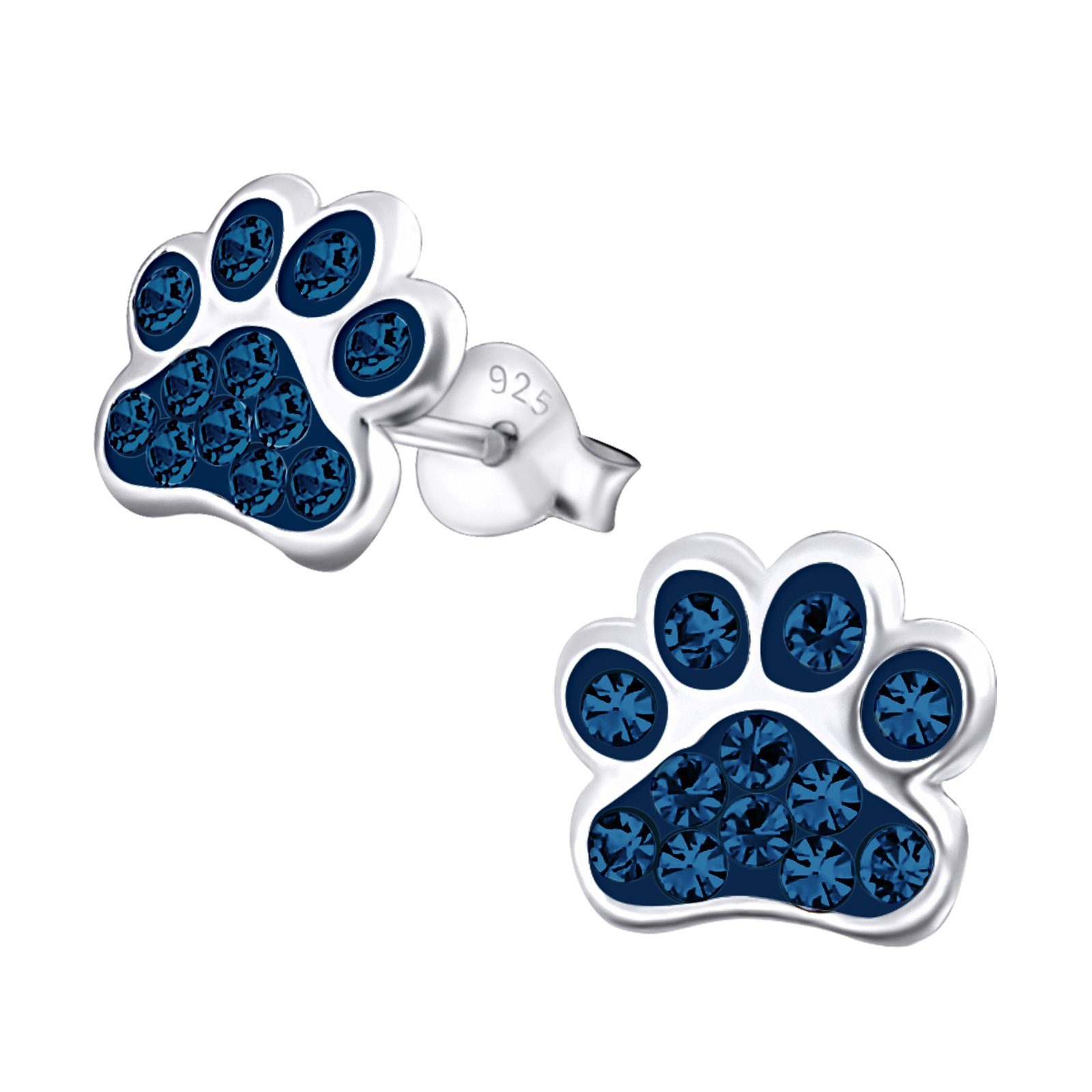 Get Quotations 925 Sterling Silver Montana Blue Crystal Paw Print Stud Earrings 18872