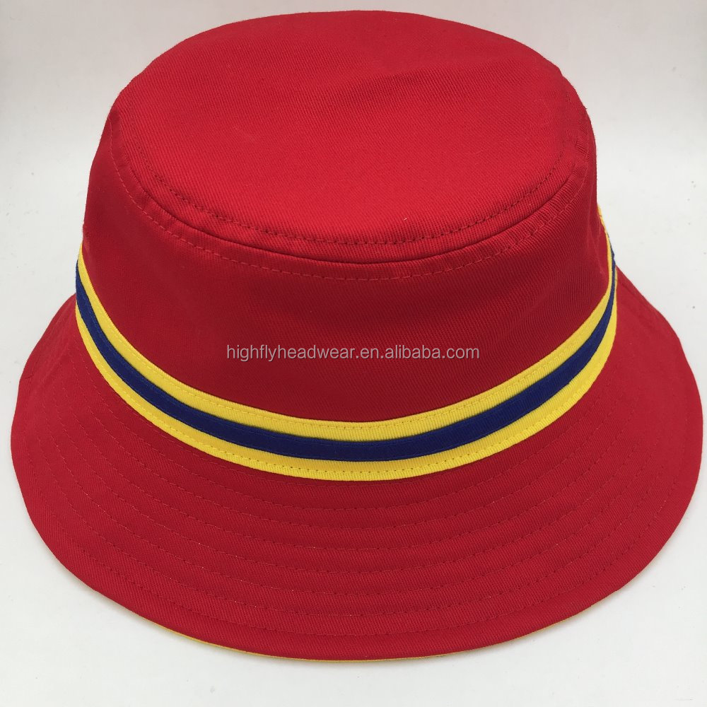 cheap high quality red cotton twill flat top dutch bucket hat sports cap strapping custom your own design logo