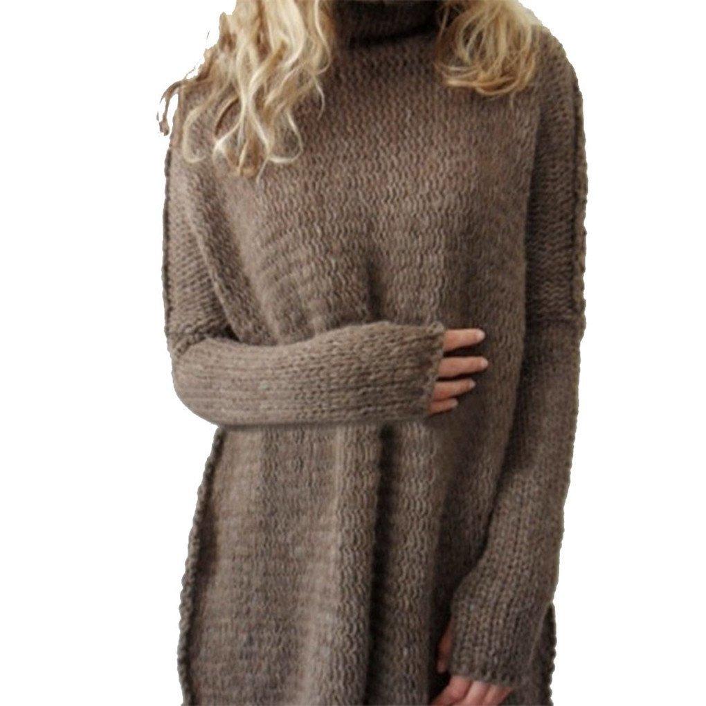 Women Blouse,Haoricu Fall Winter Women Loose Oversize Knit Sweater Jumper Shirt Tops Blouse Casual (S, Coffee)