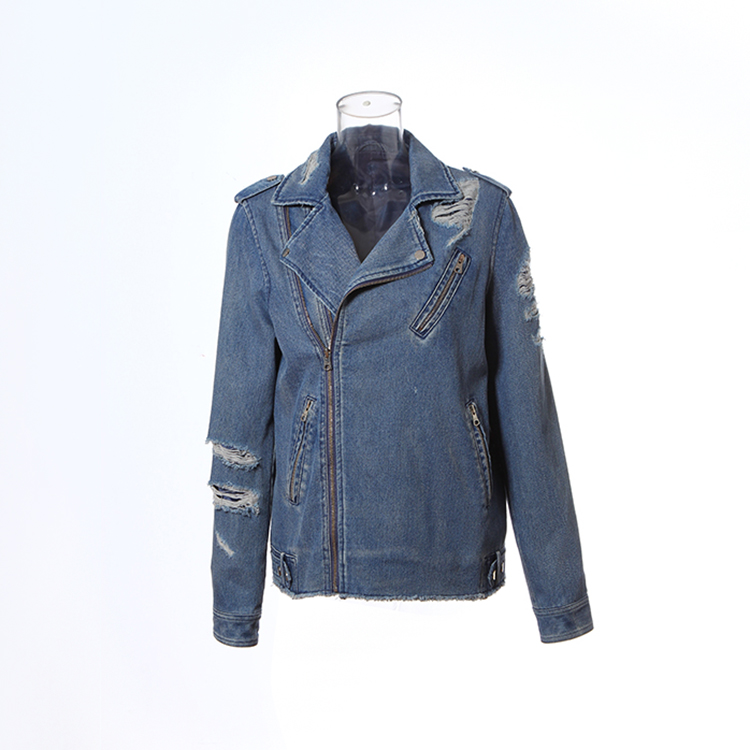Vintage zipper leather sleeves denim jacket for men