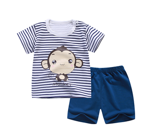 Baby Clothes T Shirt And Short Pants 2 Pcs Monkey Printed Stripe Jogging Clothes Sets