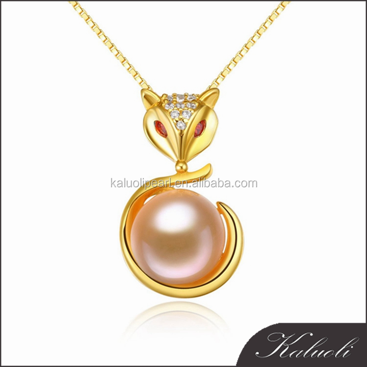 Fox designs real pearl 925 silver artificial gold plated jewelry
