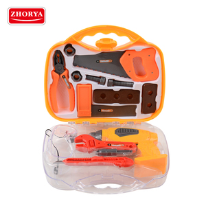 zhorya amz best selling fish prices kids plastic mechanic tool set toy with suitcase and battery operated drill in