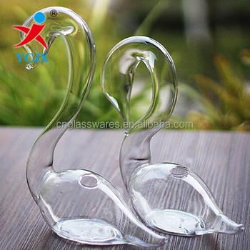 Handmade Clear Glass Swan Vase Terrarium Decoration Buy Glass Swan