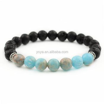 Brp1419 Fancy Natural Black Lava Bracelets Blue Imperial Jasper Beaded Bracelet Pretty Sea Sediment