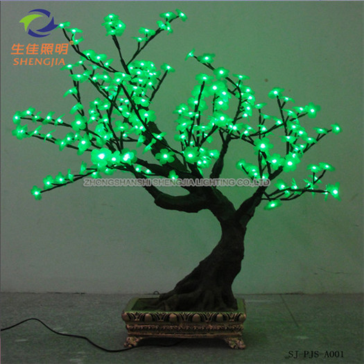 Shengjia LED Bonsai TREE holiday decoraton street hanging led garland and wreath with red flower