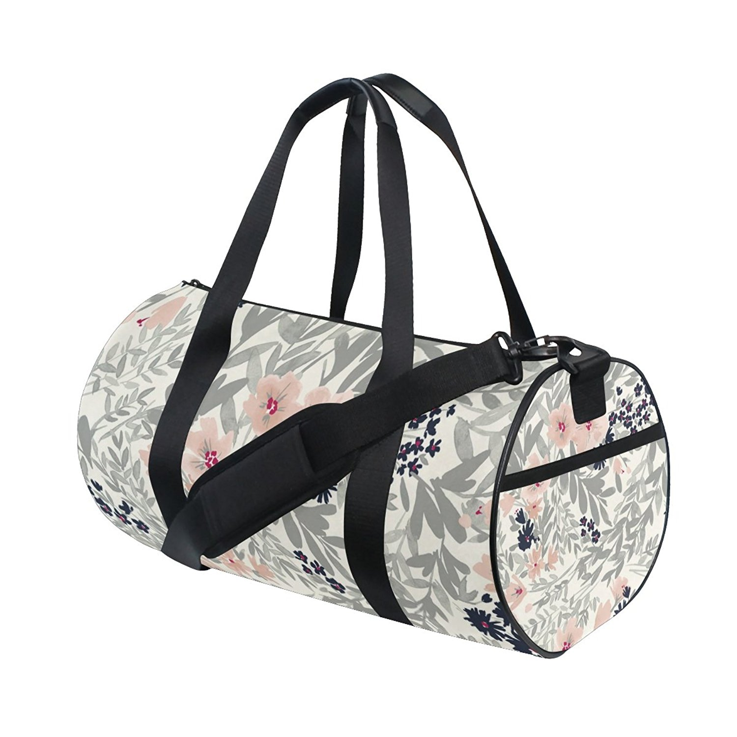 Get Quotations · QINGYANG Duffle Bag Sports Bag Grey Flower Luggage Bag  with Shoulder Strap for Men and Women b0a65d32325d0