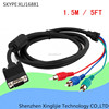 5FT 15 Pin VGA to RGB 3 RCA TV HDTV Video Cable Black 1.5M