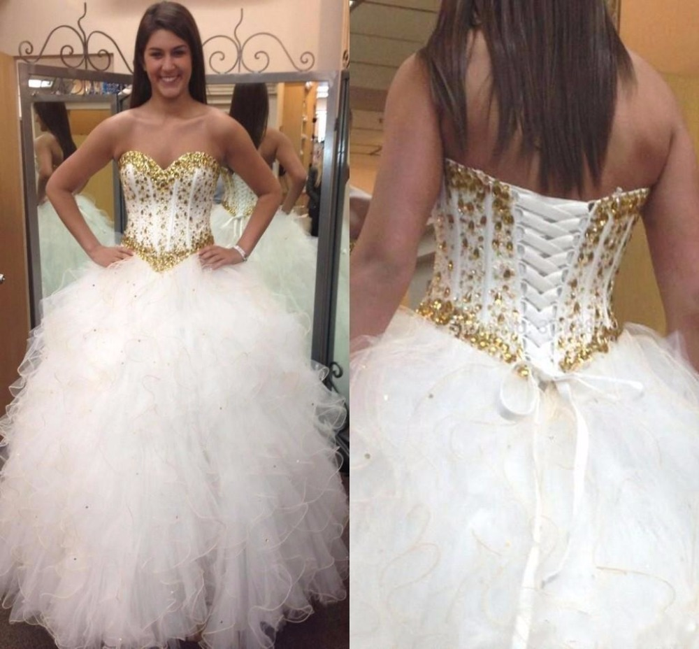 2017 Glitter White and Gold Quinceanera Dresses Basque ...