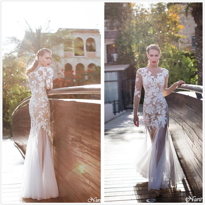 2015 New Elegant Full Long Sleeves Mermaid Wedding Dresses: 2015 Romantic Elegant Idyllic Scenery Wedding Long Sleeve