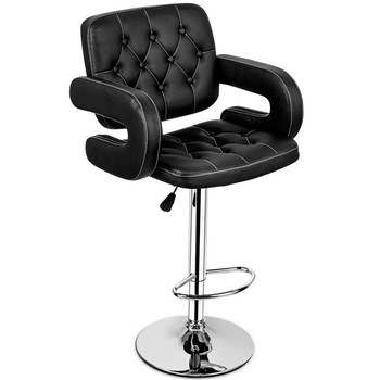 PU Leather Swivel Bar Stools Hydraulic Pub Chair Adjustable Black New