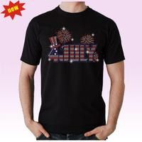 Hot Fix Motif American Stars 4th Of July Rhinestone Heat Transfers For T-Shirt